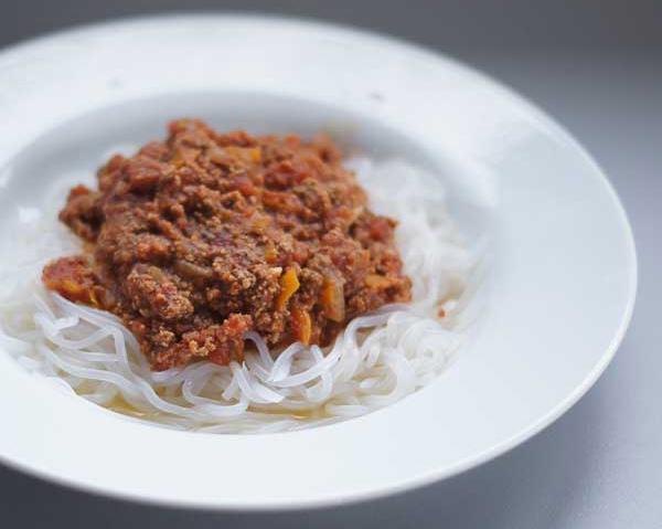 Spaghetti de Konjac à la bolognaise